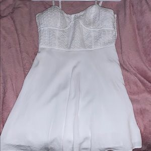 White mid length American Eagle Dress with ruching